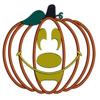 Smiling Pumpkin Halloween Applique Machine Embroidery Digitized Pattern - Instant Download - 4x4 , 5x7, 6x10
