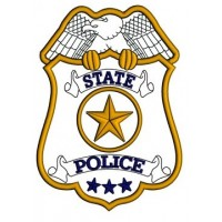 State Police Badge Applique Machine Embroidery Digitized Design Pattern - Instant Download- 4x4 , 5x7, 6x10