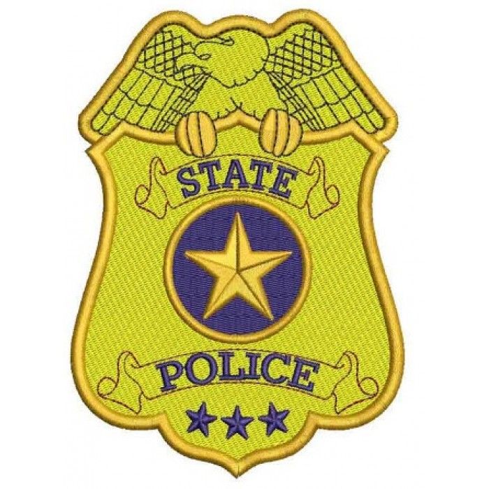 State Police Badge Filled Machine Embroidery Digitized Design Pattern - Instant Download- 4x4 , 5x7, 6x10