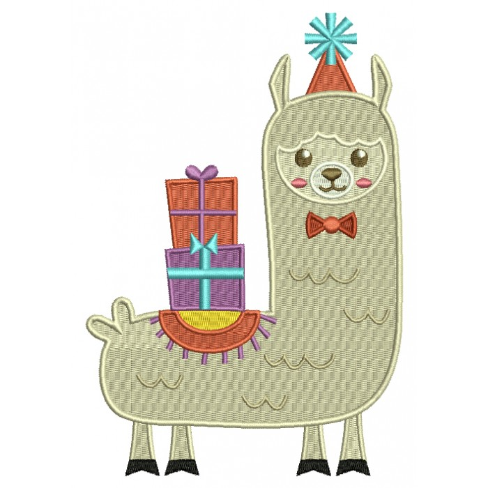 Christmas Llama With Presents Filled Machine Embroidery Design Digitized Pattern