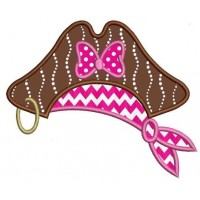 Girl Pirate Hat Applique Machine Embroidery Digitized Design Pattern