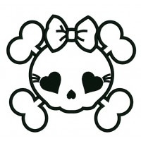 Girl Skull Applique with a bow Machine Embroidery Digitized Design Pattern