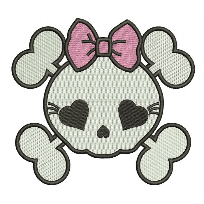 Girl Skull with a bow Machine Embroidery Filled Digitized Design Pattern