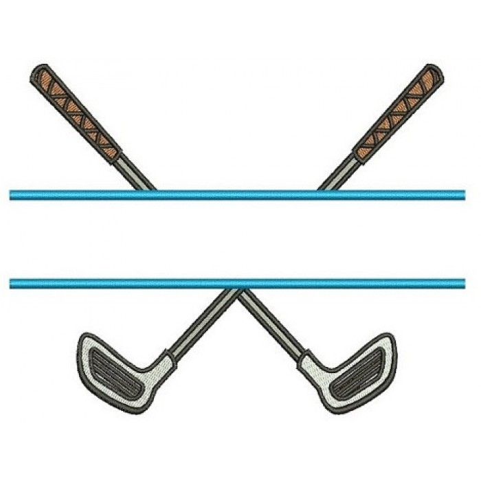 Golf Club Split Filled Machine Embroidery Digitized Design Sport Pattern - Instant Download - 4x4 , 5x7, 6x10