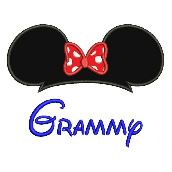 Grammy  Mouse Ears Looks Like Minnie Mouse  Applique Grandma Machine Embroidery Digitized Design Pattern