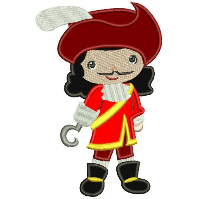 Looks Like Captain Hook Applique Machine Embroidery Design Digitized Pattern