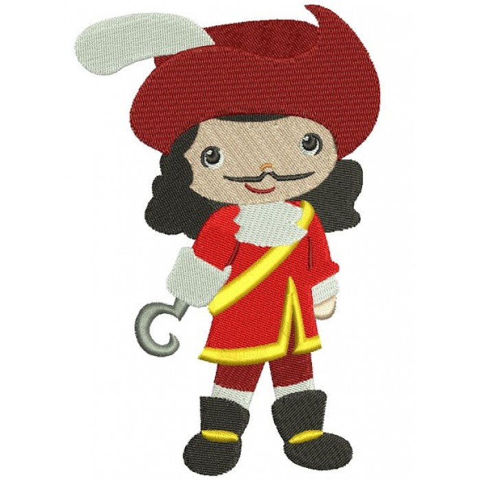 Looks Like Captain Hook Filled Machine Embroidery Design Digitized Pattern