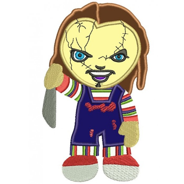 Looks Like Cute Chuckie Horror Applique Machine Embroidery Digitized Design Pattern