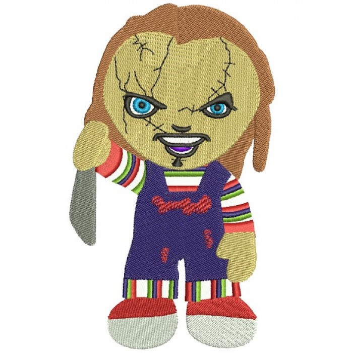 Looks Like Cute Chuckie Horror Filled Machine Embroidery Digitized Design Pattern