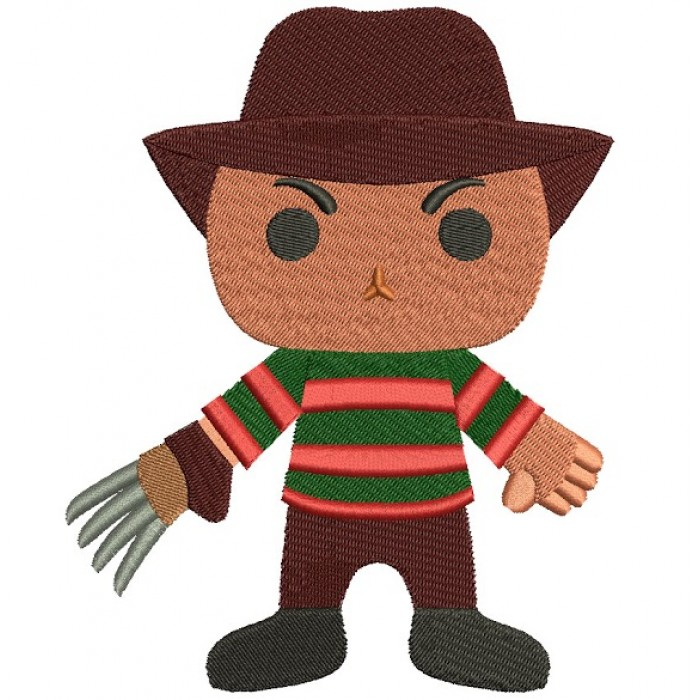 Looks Like Cute Freddy Krueger Horror Filled Machine Embroidery Digitized Design Pattern