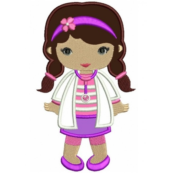 Looks Like Doc Mcstuffins Applique Girl Doctor Machine Embroidery Design Digitized Pattern 700x700g