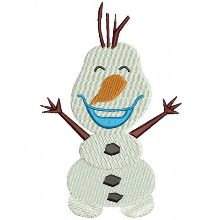 Looks Like Olaf Snow Man from Frozen Filled Machine Embroidery Design Digitized Pattern