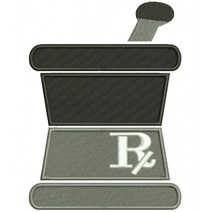Pharmacology cup for mixing pills Filled Machine Embroidery Digitized Design Pattern