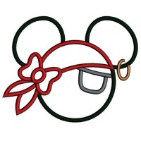 Looks like Pirate Mickey Mouse Ears Applique with a patch Machine Embroidery Digitized Pattern- Instant Download - 4x4 ,5x7,6x10 -hoops