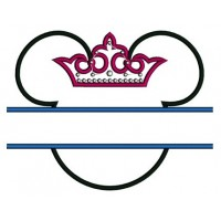 Princess Minnie Mouse Ears Split Applique Machine Embroidery Digitized Pattern- Instant Download - 4x4 ,5x7,6x10 -hoops