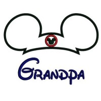 Grandpa Mickey Mouse Ears Applique Machine Embroidery Digitized Pattern- Instant Download - 4x4 ,5x7,6x10 -hoops