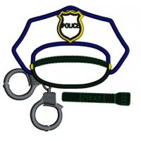Police Cap with Handcuffs Applique Embroidery Digitized Design Pattern - Instant Download- 4x4 , 5x7, 6x10