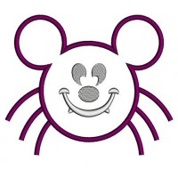 Spider MIkey Ears Halloween Applique Machine Embroidery Digitized Design Pattern - Instant Download - 4x4 , 5x7, 6x10