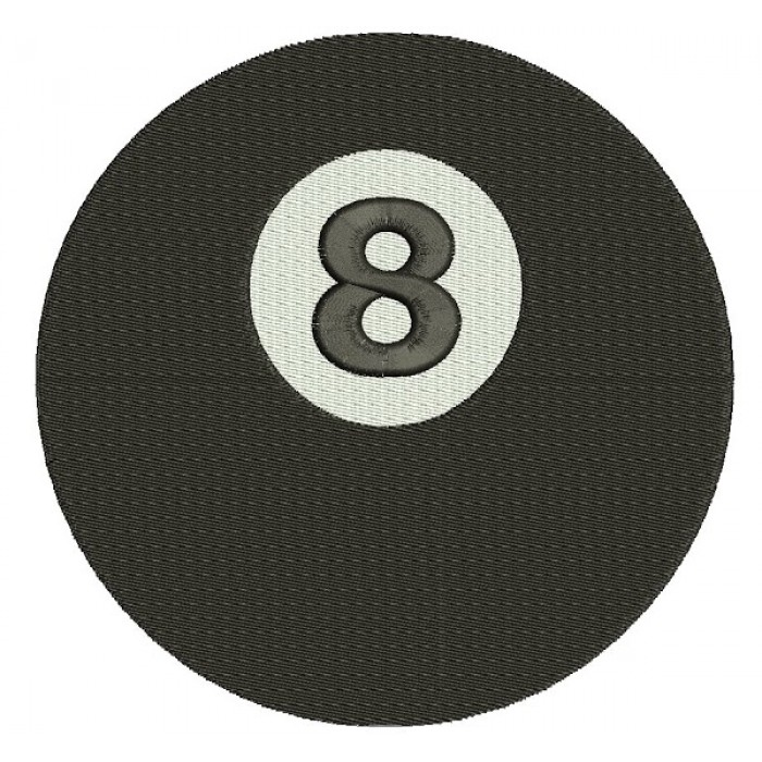 8 (Eight) Ball Billiard (Pool) Machine Embroidery Digitized Design Filled Pattern - Instant Download - comes in three sizes 4x4 , 5x7, 6x10 hoops