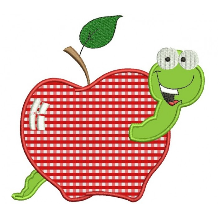 Apple with Worm Applique Machine Embroidery Design Pattern- Instant Download - 4x4 , 5x7, and 6x10 hoops