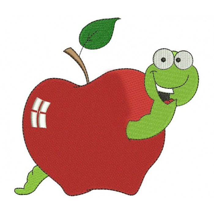 Apple with Worm Machine Embroidery Design Filled Pattern- Instant Download - 4x4 , 5x7, and 6x10 hoops
