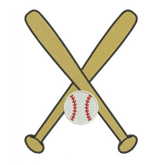 Baseball Bats Crossed with a baseball Design Machine Embroidery Digitized Filled Pattern - Instant Download - 4x4 , 5x7, 6x10