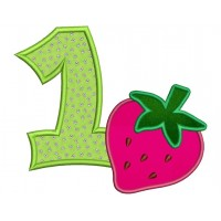 Birthday Strawberry Number 1 Applique (1st birthday) Machine Embroidery Design Pattern- Instant Download - 4x4 , 5x7, and 6x10 hoops