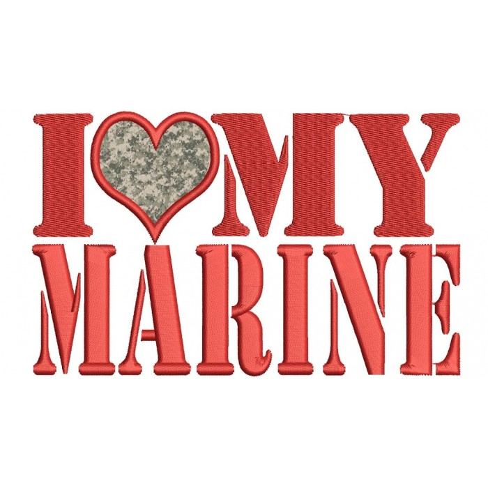 I love my Marine Military Applique Machine Embroidery Digitized Design Pattern - Instant Download - 4x4 , 5x7, and 6x10 -hoops