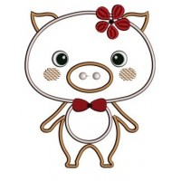 Little Piggy Applique Machine Embroidery Digitized Design Pattern  - Instant Download - 4x4 , 5x7, and 6x10 -hoops