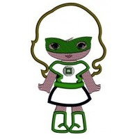 Looks like Lantern Girl Super Hero Applique (hands out) - Machine Embroidery Digitized Design Pattern - Instant Download - 4x4 , 5x7, 6x10