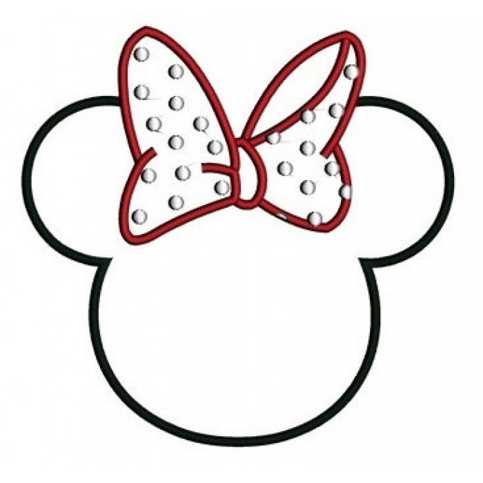 Minnie Mouse Ears Applique Machine Embroidery Designs