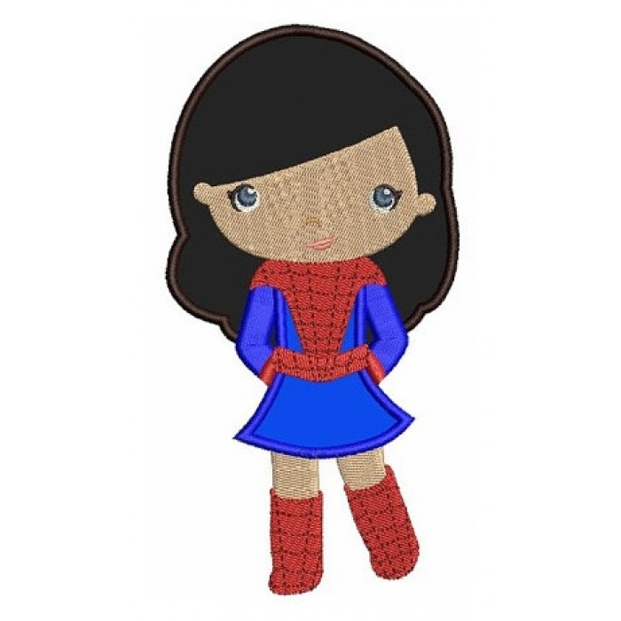 Looks like Spider Girl Super Hero Applique No Mask (hands in) - Machine Embroidery Digitized Design Pattern - Instant Download -4x4,5x7,6x10