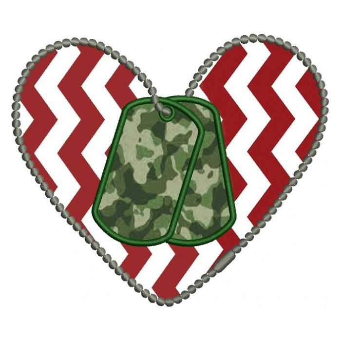 Love Military Heart Applique Dog Tags Machine Embroidery Digitized