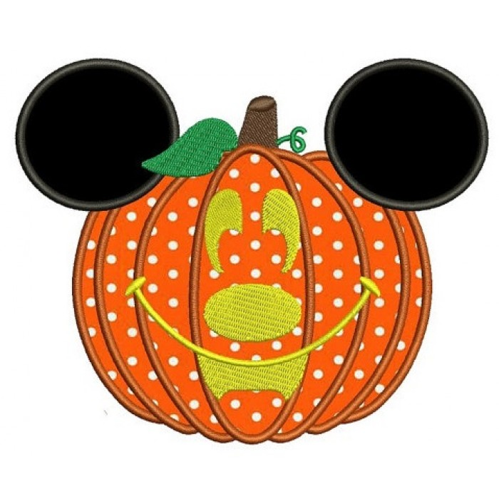 Mickey Ears Pumpkin Halloween Applique Machine Embroidery Digitized Pattern - Instant Download - 4x4 , 5x7, 6x10