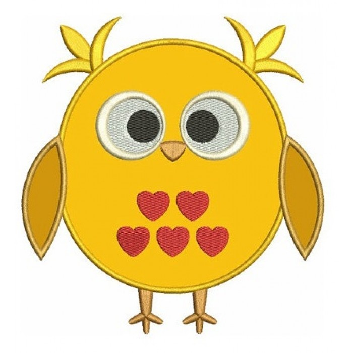 Owl Bird Applique with hearts Machine Embroidery Digitized Design Pattern - Instant Download - comes in three sizes 4x4 , 5x7, 6x10 hoops