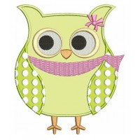 Owl Bird Applique with polka dots Machine Embroidery Digitized Design Pattern - Instant Download - in three sizes 4x4 , 5x7, 6x10 hoops