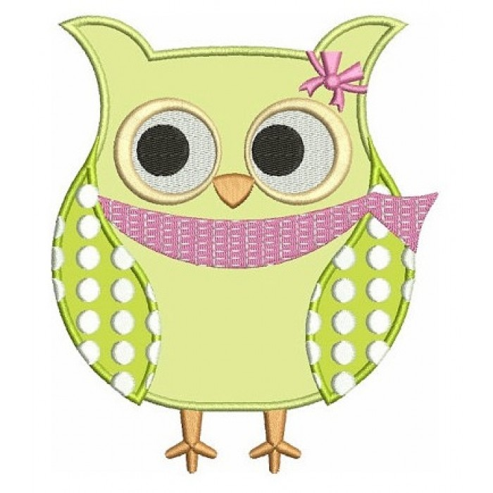 Owl Bird Applique With Polka Dots Machine Embroidery Digitized