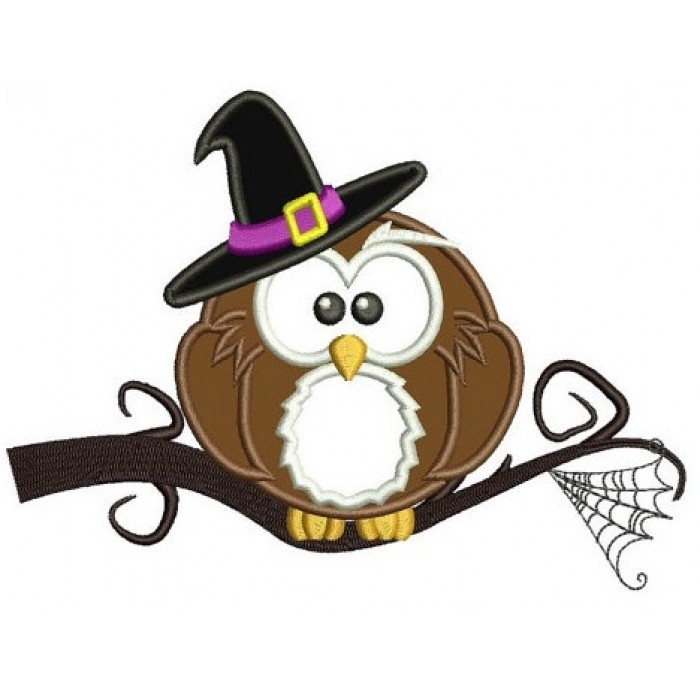 Owl wearing witch hat Halloween Applique Machine Embroidery Digitized Pattern - Instant Download - 4x4 , 5x7, 6x10