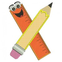 Teachers Ruler and Pencil Applique School Machine Embroidery Digitized Design Pattern -Instant Download- 4x4,5x7,6x10