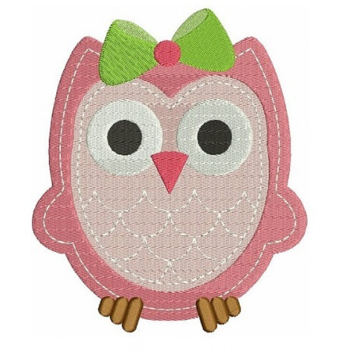 Baby Owl with cute Bow Machine Embroidery Digitized Design Filled Pattern - Instant Download - comes in three sizes 4x4 , 5x7, 6x10 hoops