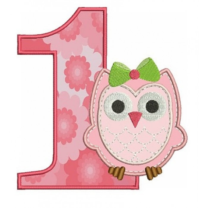 Birthday Baby Owl Number 1 (One) Applique Machine Embroidery Digitized Design Pattern - Instant Download -three sizes 4x4 , 5x7, 6x10 hoops