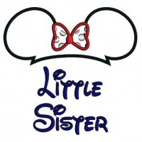 Little Sister Mickey Mouse Ears Applique Machine Embroidery Digitized Pattern- Instant Download - 4x4 ,5x7,6x10 -hoops