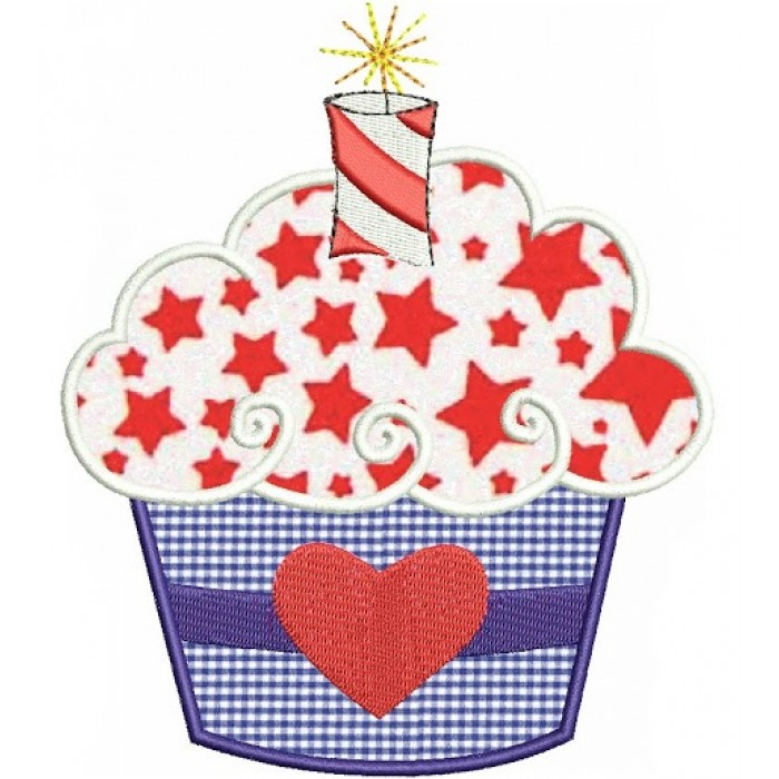 Firecracker Cake (birthday of 4th of July/independence day) Applique Machine Embroidery Digitized Design  Pattern  - Instant Download