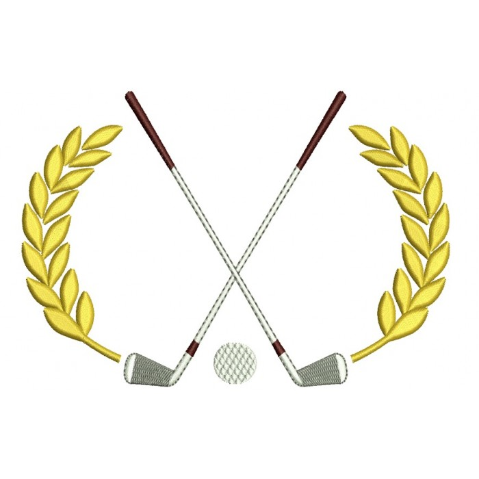 Golf Club with a ball Machine Embroidery Digitized Design Filled Sport Pattern - Instant Download - 4x4 , 5x7, 6x10