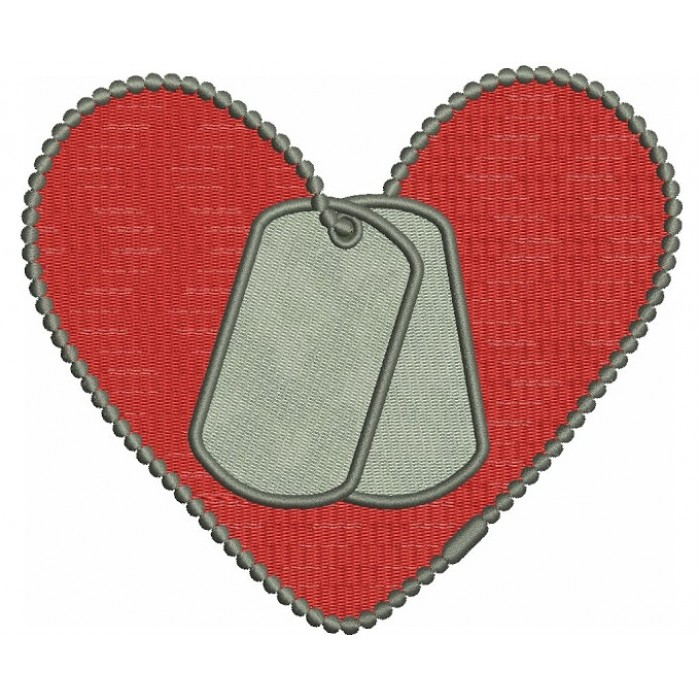 Love Military Heart (Dog Tags) Machine Filled Embroidery Digitized Design  Pattern  - Instant Download - 4x4 , 5x7, and 6x10 -hoops