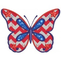 USA Patriotic 4th of July (Independence Day) Butterfly Applique Machine Embroidery Digitized Design Pattern -Instant Download- 4x4,5x7,6x10