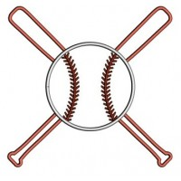 Baseball Bats Crossed in the middle Applique with a baseball Design Machine Embroidery Digitized Pattern - Instant Download - 4x4 , 5x7,6x10