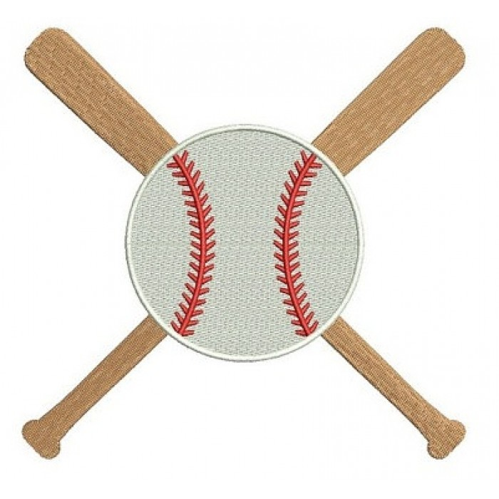 Baseball Bats Crossed in the middle with a baseball Design Machine Embroidery Digitized Filled Pattern - Instant Download - 4x4 , 5x7, 6x10