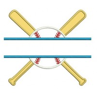 Baseball with Bats Split Applique with a baseball Design Machine Embroidery Digitized Pattern - Instant Download - 4x4 , 5x7, 6x10