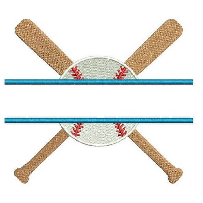 Baseball with Bats Split with a baseball Design Filled Machine Embroidery Digitized Pattern - Instant Download - 4x4 , 5x7, 6x10
